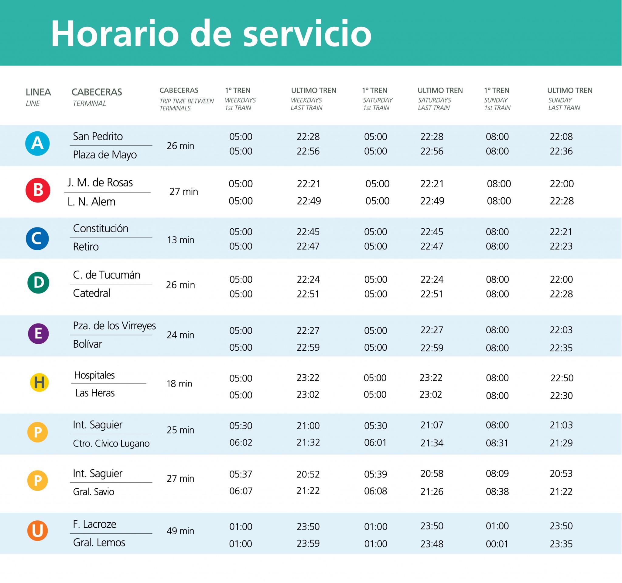 horarios de servicio OK