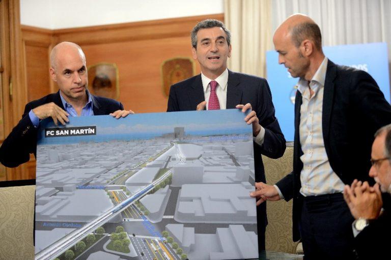 Randazzo, Dietrich y Rodríguez Larreta presentan el viaducto del San Martín. La electrificación, pendiente.
