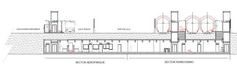 Corte de la proyectada estación Aeroparque