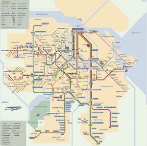 Plano de la red de tranvías y subtes de Ámsterdam.