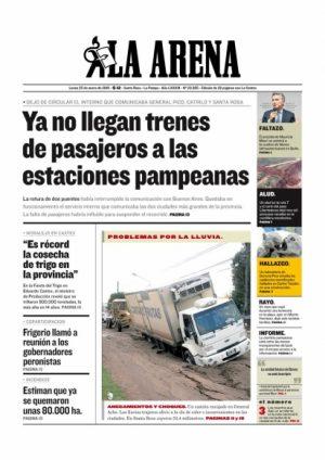 La suspensión del tren preocupa en La Pampa: fue nota de tapa del principal diario de esa provincia.