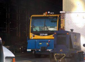 El locotractor, estacionado en Polvorín. Fotografía de Quique Sáenz.