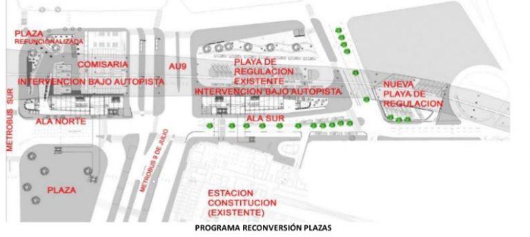 La nueva terminal de colectivos, según un documento de la Dirección General de Planificación de la Movilidad del GCBA.