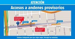 Andenes provisorios en Liniers, desfasados de la estación original.