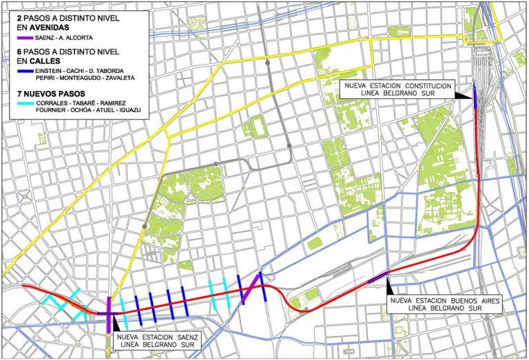Detalle del proyecto de extensión del Belgrano Sur (Fuente: GCBA).