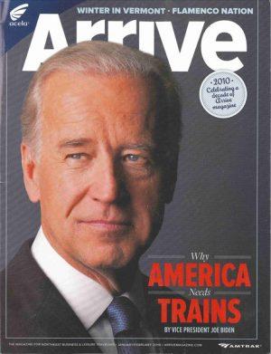 """""""Por qué Estados Unidos necesita trenes"""", escribió en 2010 el ex vicepresidente en la revista de Amrak."""