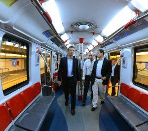 Macri, Rodríguez Larreta, Piccardo y Santilli, a bordo de un Siemens reformado.