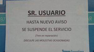 Cartel anunciando la suspensión del servicio.