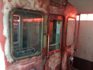 """La cabina de la formación """"I"""", tras el principio de incendio."""
