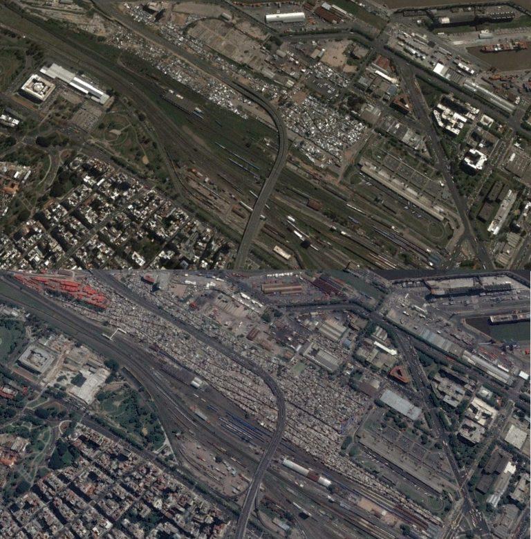 Comparativa de la superficie ocupada por las villas 31 y 31 bis. Arriba, en 2002; abajo, en 2016.