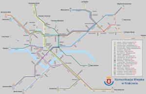 Plano de la red tranviaria de Cracovia.