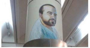 Mural en homenaje del fallecido operario, en Congreso de Tucumán.