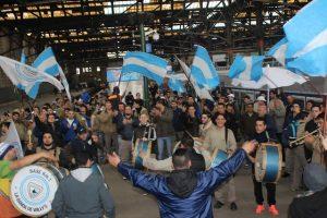 El gremio La Fraternidad realizó días atrás una manifestación por los trenes en Plaza Constitución.