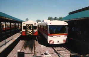 La formación prototipo UMAP, antedecente de los PUMA, en pruebas en la estación Tigre en 1997. Fuente: HaciendoVía.
