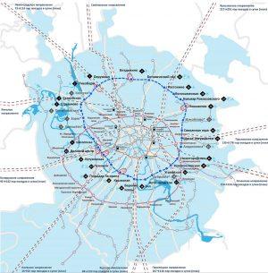 Plano donde se aprecia a la línea circular original (marrón), el Círculo Central de Moscú (azul) y la traza futura de la tercera línea circular (morado)